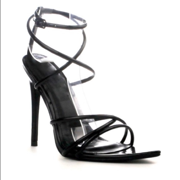 9ef8801bd86fe5 Style Link Miami Shoes | Black Strappy Open Pointy Toe Heels | Poshmark